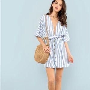Dresses & Skirts - Deep v neck button front striped dress